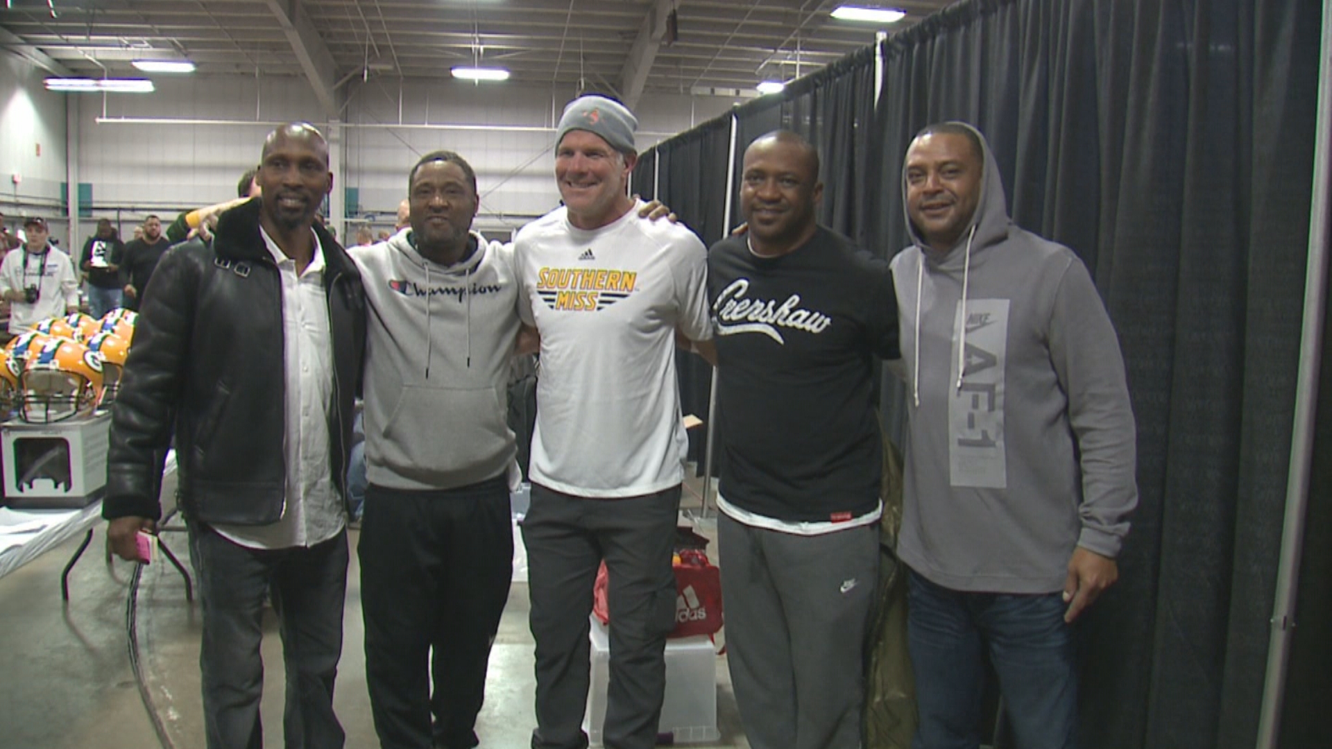 Robert Brooks. Andre Rison, Brett Favre,{ }Derrick Mayes and Antonio Freeman met together for an autograph signing in West Allis, December 1, 2018. (WITI-TV)