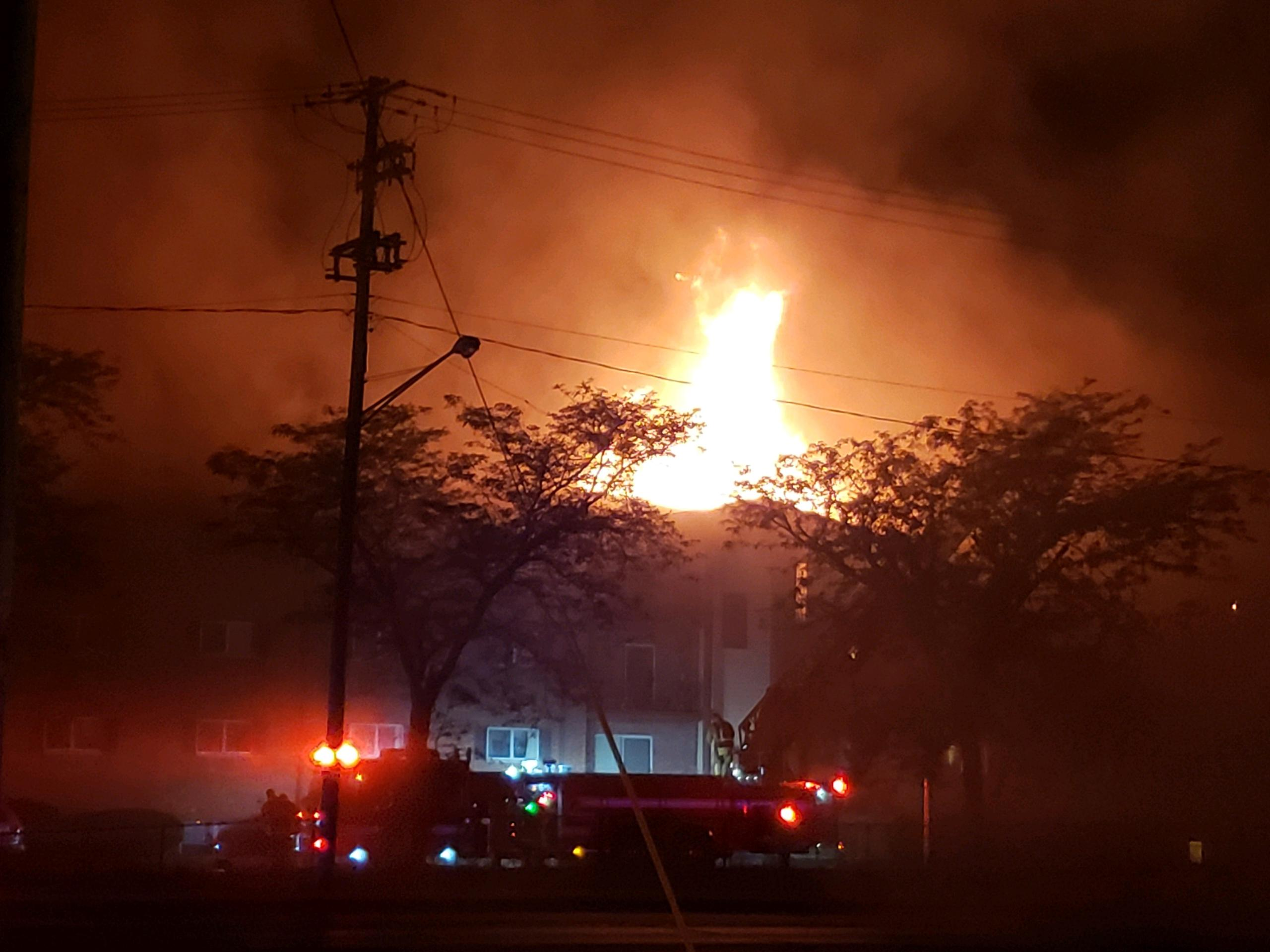 Battle Creek Fire Department is currently responding to an active structure fire at 80 Riverside and asking the public to avoid the area, according to Calhoun County Dispatch. (WWMT/Tyler Shore)