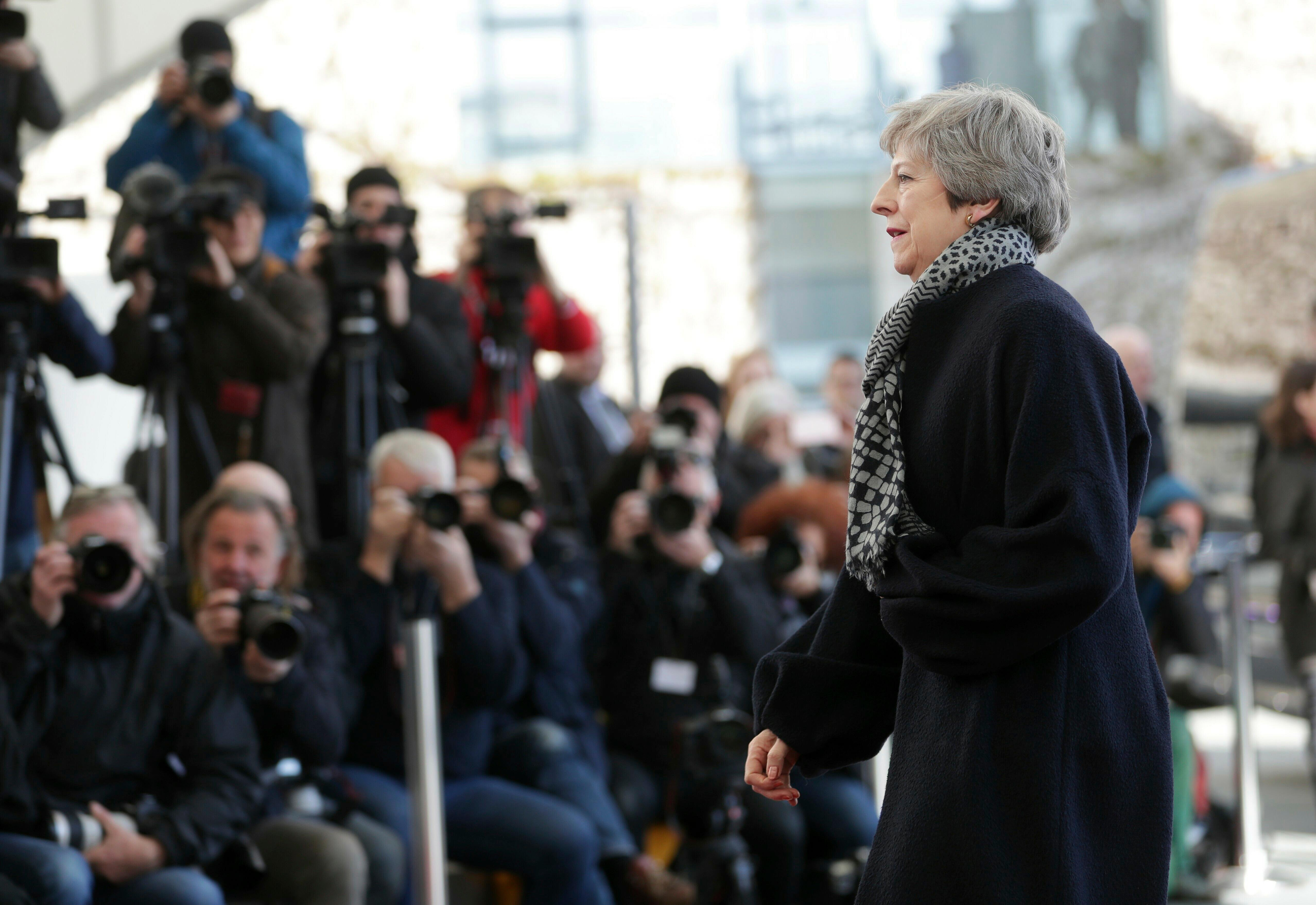 British Prime Minister Theresa May arrives to meet German Chancellor Angela Merkel at the chancellery in Berlin, Germany, Tuesday, April 9, 2019. Prime Minister Theresa May will hold talks with the leaders of Germany and France Tuesday ahead of a key Brexit summit this week. (AP Photo/Michael Sohn)