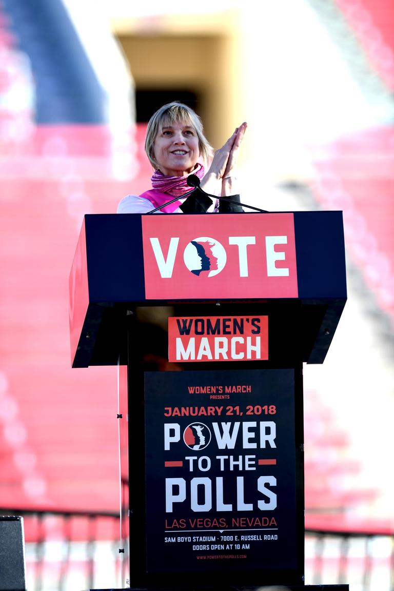 Mary Sue Milliken, Celbrity Chef and restaurant owner speaking at the Women's March Power to the Polls Rally at Sam Boyd Stadium in Las Vegas. Sunday, January 21, 2017. CREDIT: Glenn Pinkerton/Las Vegas News Bureau
