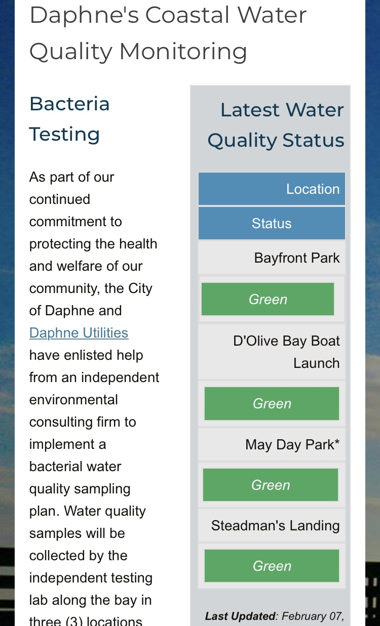 (image: WPMI) Daphne launches water quality testing, website for public safety