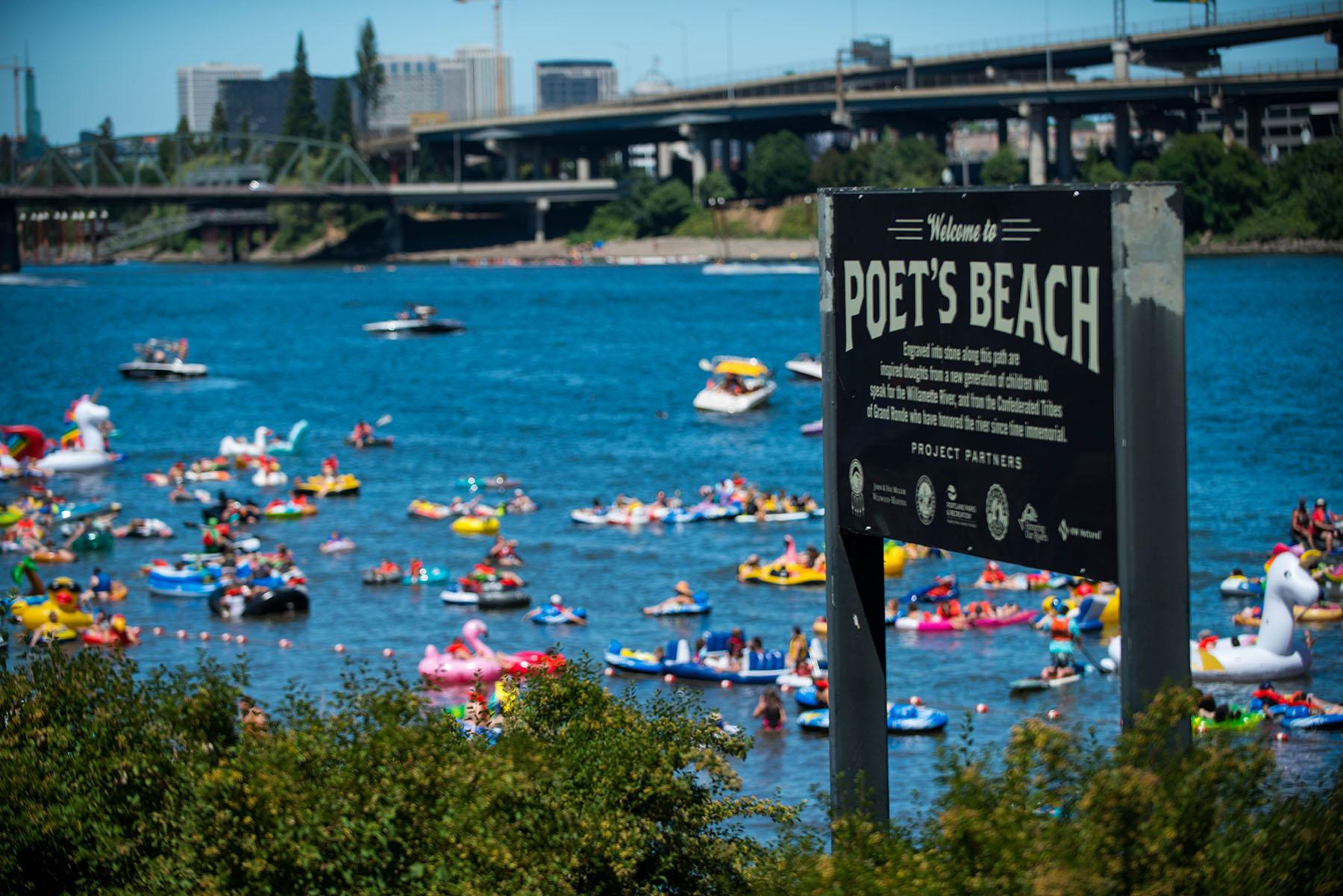Water lovers hit the Willamette River Saturday for the 8th annual Big Float, hosted by the Human Access Project – a group devoted to increasing access to the natural resource that runs through the city. On floats or in boats, thousands started off at Poet's Beach and journeyed downriver to Tom McCall Waterfront Park. The float is. (Tristan Fortsch/KATU photo taken July 14, 2018)