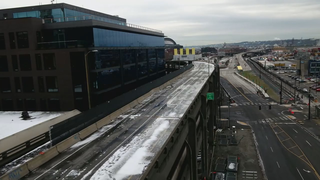 Drone footage of the now-shuttered Alaskan Way Viaduct (KOMO Photo)