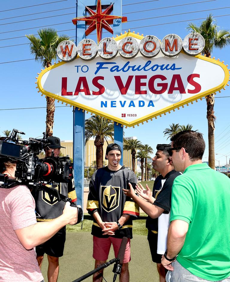 A Canadian news crew interviews Vegas Golden Knights player Marc-Andre Fleury at the Welcome to Fabulous Las Vegas sign. Thursday, June 22, 2017. (Glenn Pinkerton/Las Vegas News Bureau)