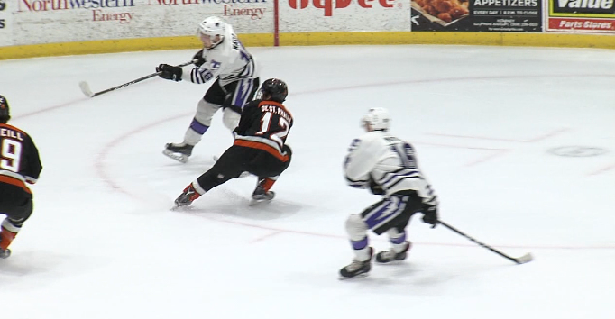 Storm Center Tyler Ward scores a goal against the Omaha Lancers. Ward will participate in the Top Prospects game. (KHGI){&amp;nbsp;}<p></p>