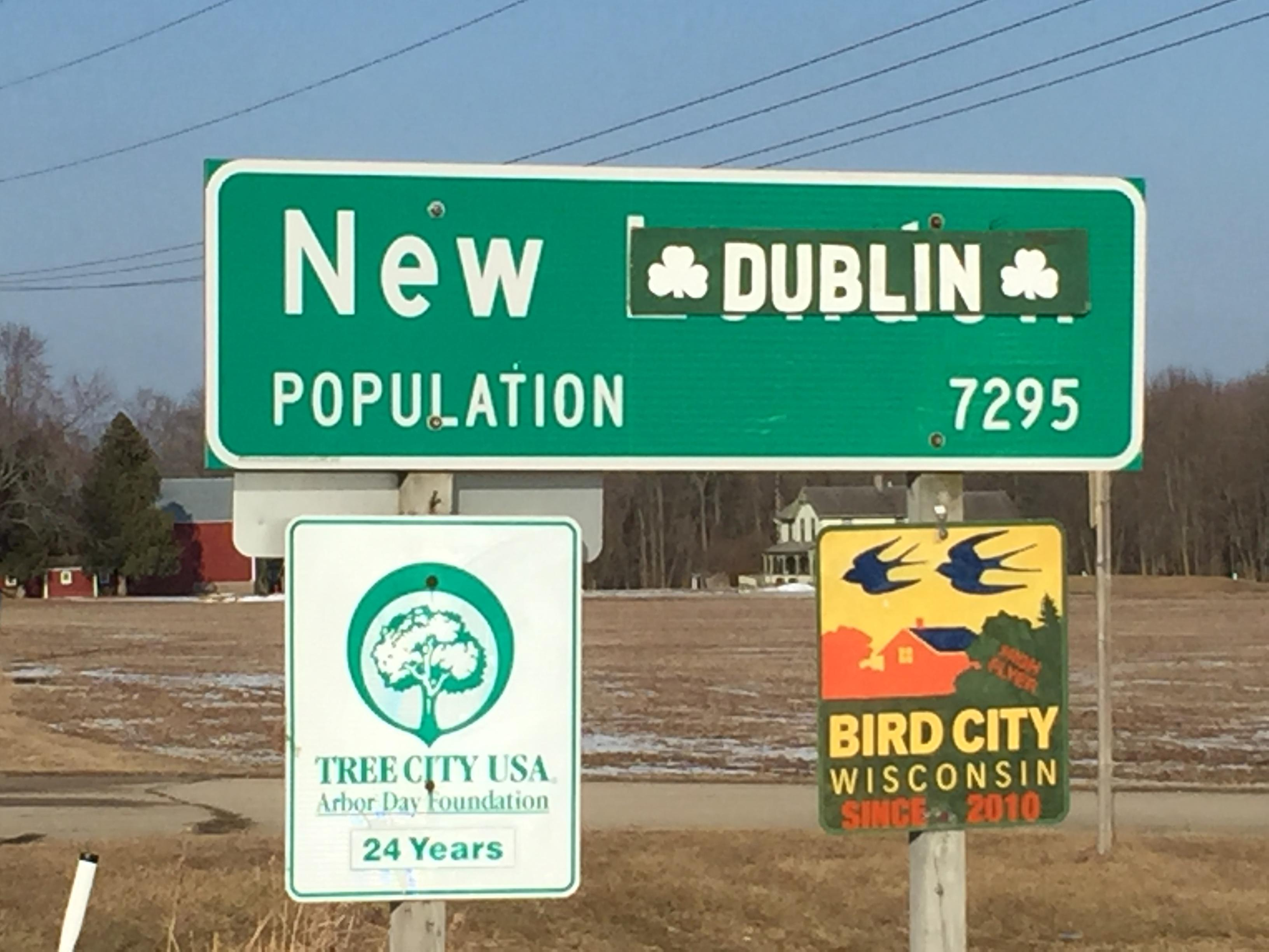 "New London's welcome signs read ""New Dublin"" March 12, 2018, ahead of the city's annual St. Patrick's Day celebration. (WLUK/Jerry Van Handel)"