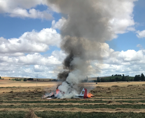 A plane went down in a field east of Salem, and the pilot was taken to the hospital for treatment. Photo courtesy of Marion County Sherrif's Office.