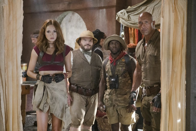 Karen Gillan, Jack Black, Kevin Hart and Dwayne Johnson star in JUMANJI: WELCOME TO THE JUNGLE. (Photo: Sony)<p></p>