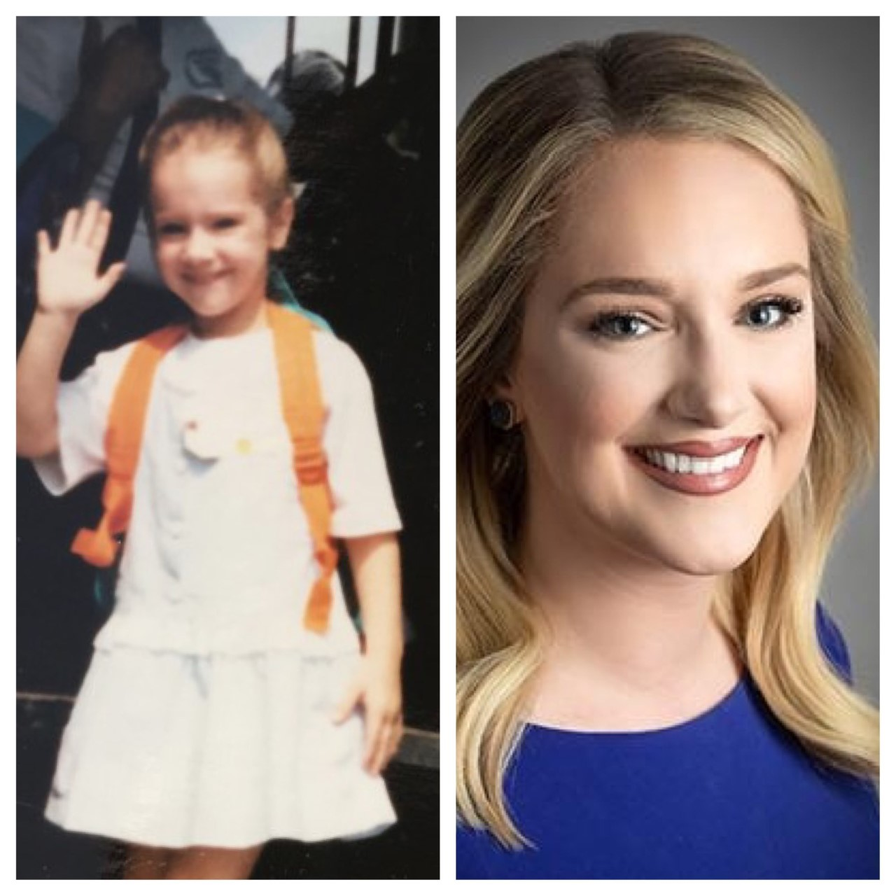 Rachelle Spence with her back to school picture and her current NBC25/FOX66 photo.