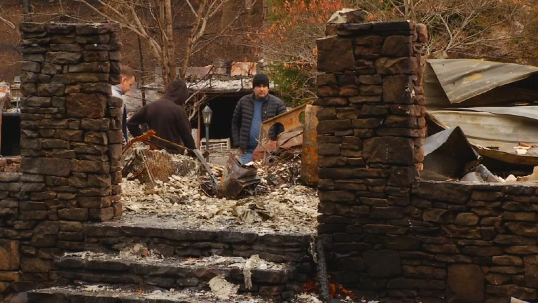 Constantin Tolkachev is still reeling from what he estimates as $30,000 of all his possessions that are gone after his downtown Gatlinburg apartment burned to the ground. (Photo credit: WLOS staff)
