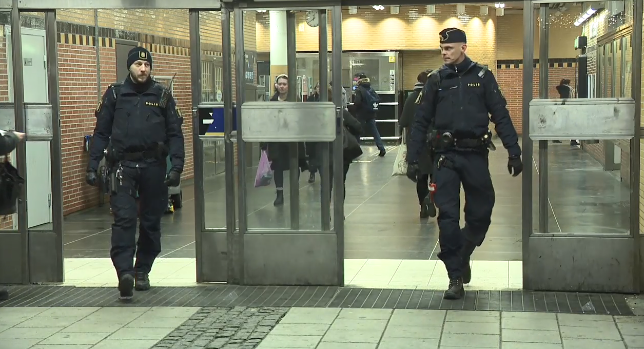 Police patrol a shopping mall in a suburb of Malmo, Rosengard. (Sinclair Broadcast Group)