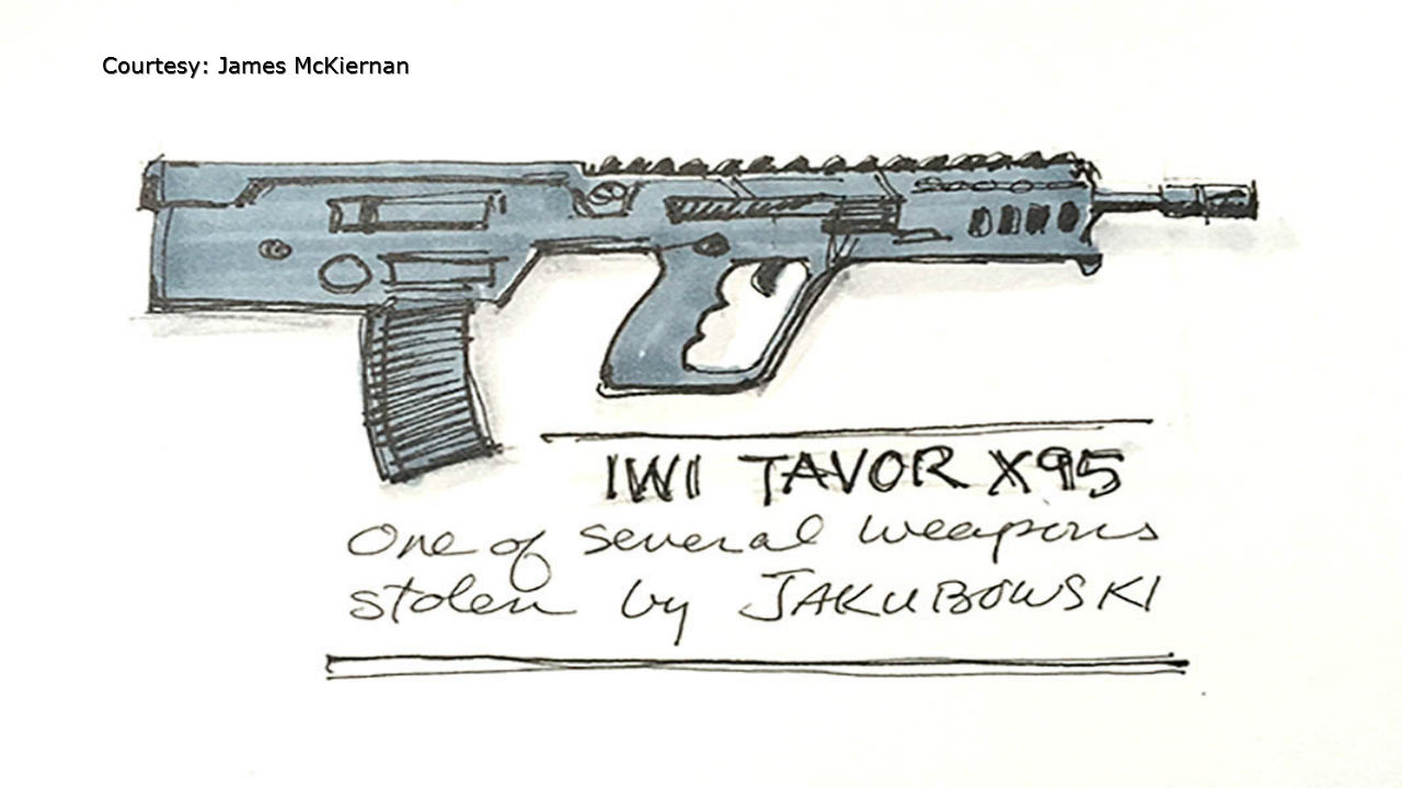 Sketch artist's rendering of one of the guns stolen by Joseph Jakubowski and entered into evidence. (Courtesy James McKiernan via WMTV-TV)