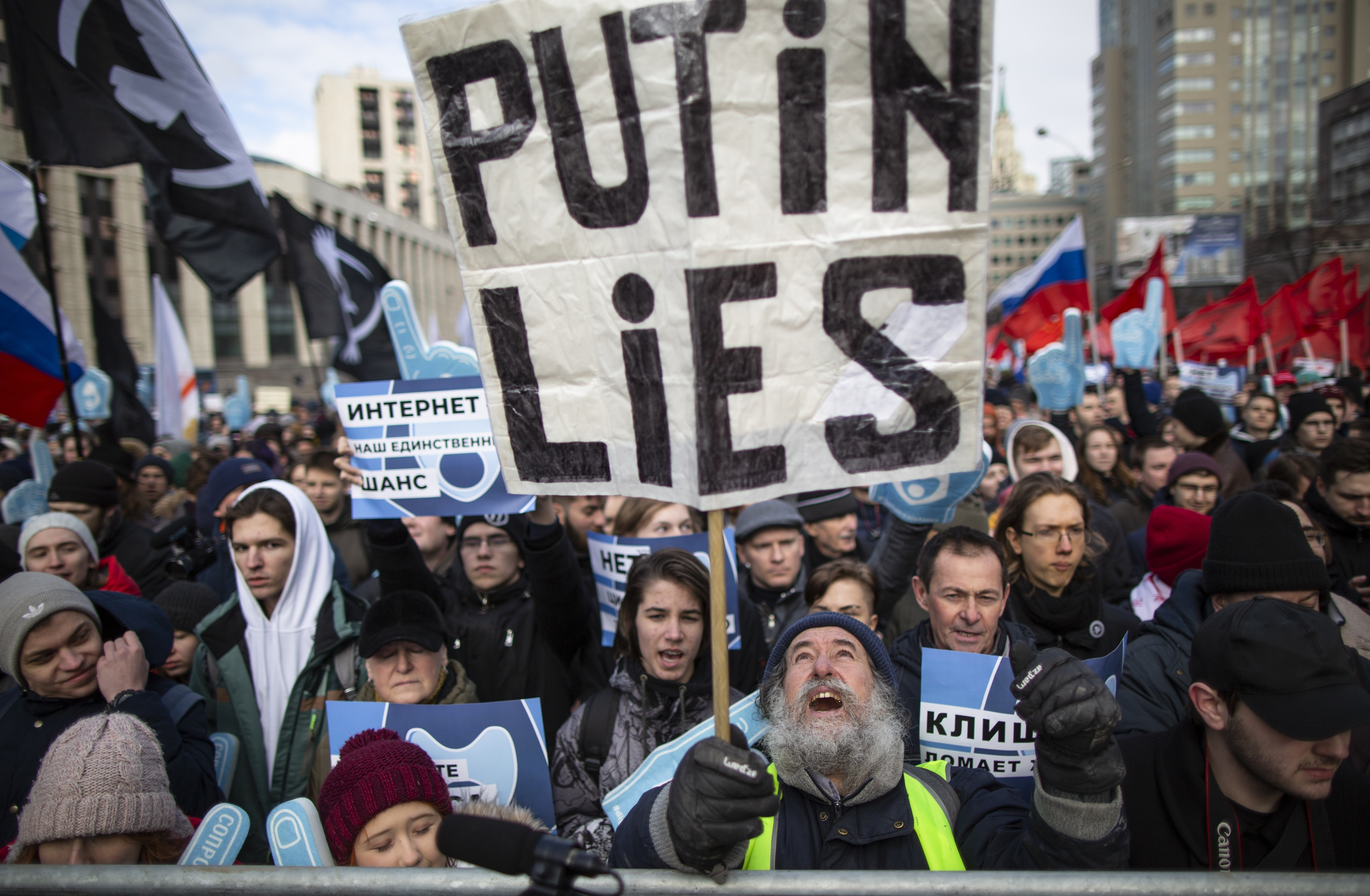 Demonstrators attend the Free Internet rally in response to a bill making its way through parliament calling for all internet traffic to be routed through servers in Russia — making VPNs (virtual private networks) ineffective, in Moscow, Russia, Sunday, March 10, 2019. (AP Photo/Alexander Zemlianichenko)