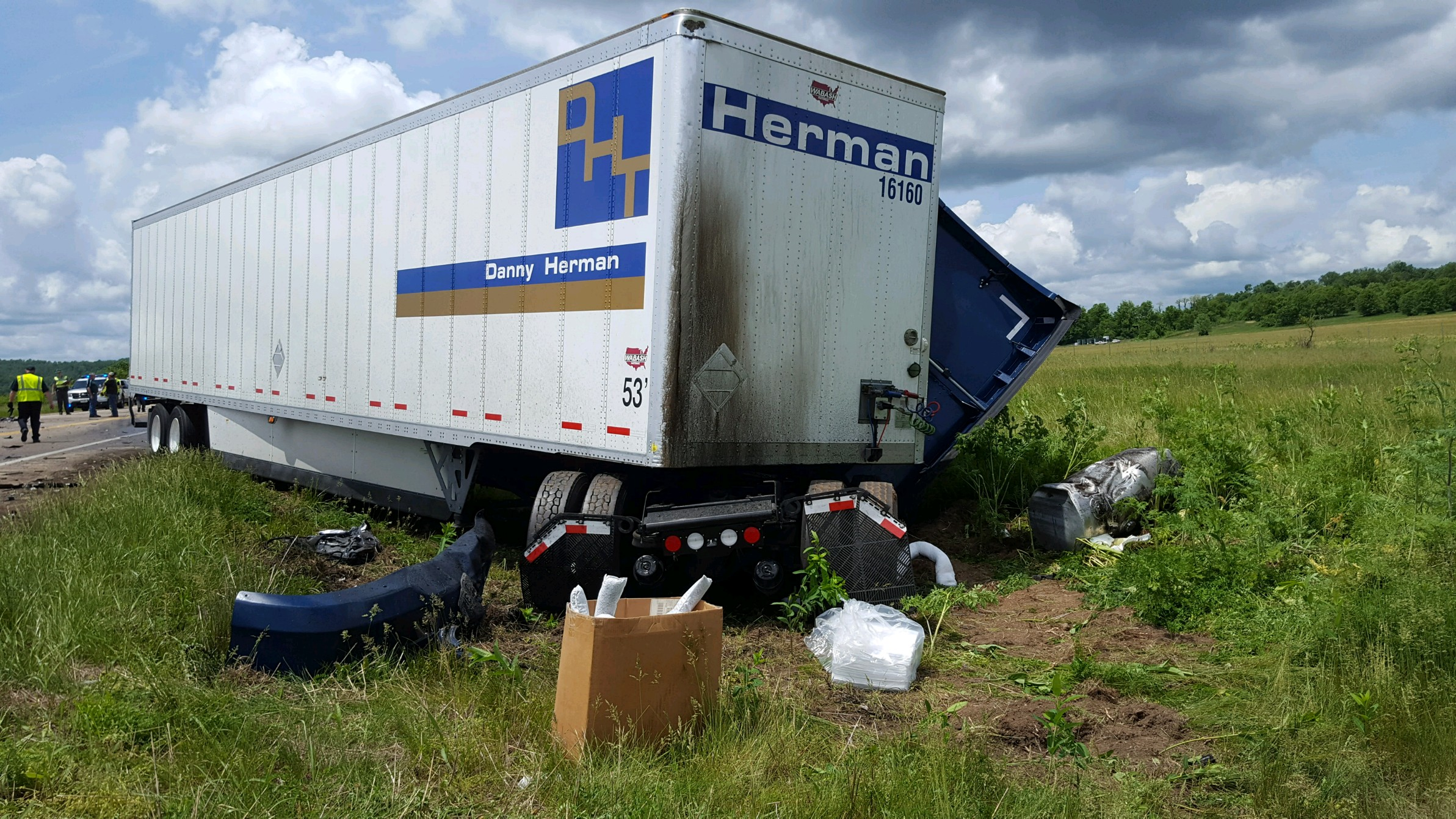 The sheriff said a commercial tractor-trailer and SUV collided. (WCHS/WVAH)