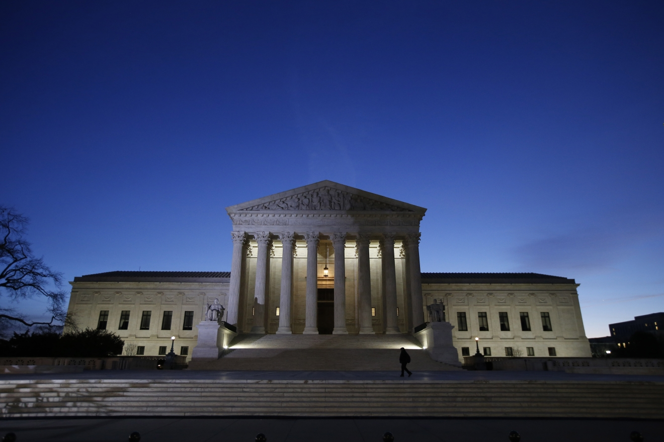 In this Feb. 19, 2016 photo, the front of the U.S. Supreme Court is seen in Washington. (AP Photo/Alex Brandon)