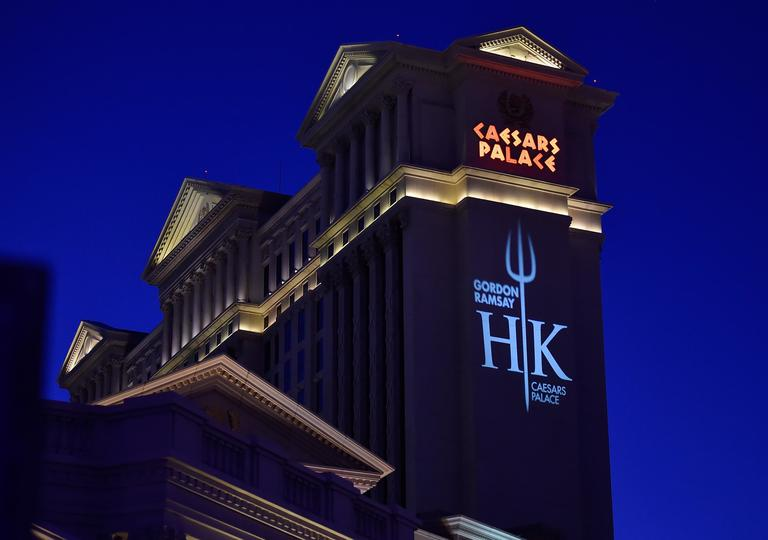 A Hell's Kitchen logo is displayed on the side of one of the Caesars Palace towers during the grand opening of Gordon Ramsay Hell's Kitchen at Caesars Palace Friday, Jan. 26, 2018, in Las Vegas. CREDIT: David Becker/Las Vegas News Bureau