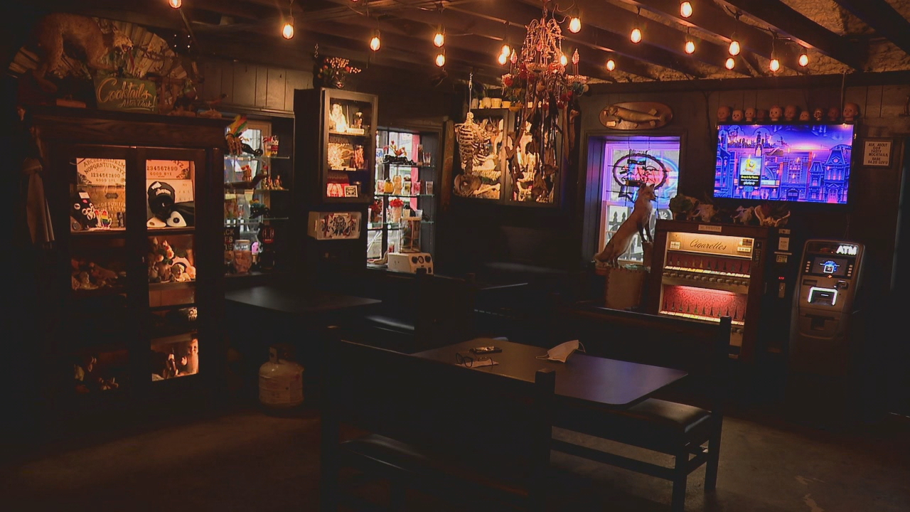 The doors at West Asheville's Odditorium  will open again Monday, and the alcohol curfew has moved 9 p.m. to 11 p.m. (Photo credit: WLOS staff)