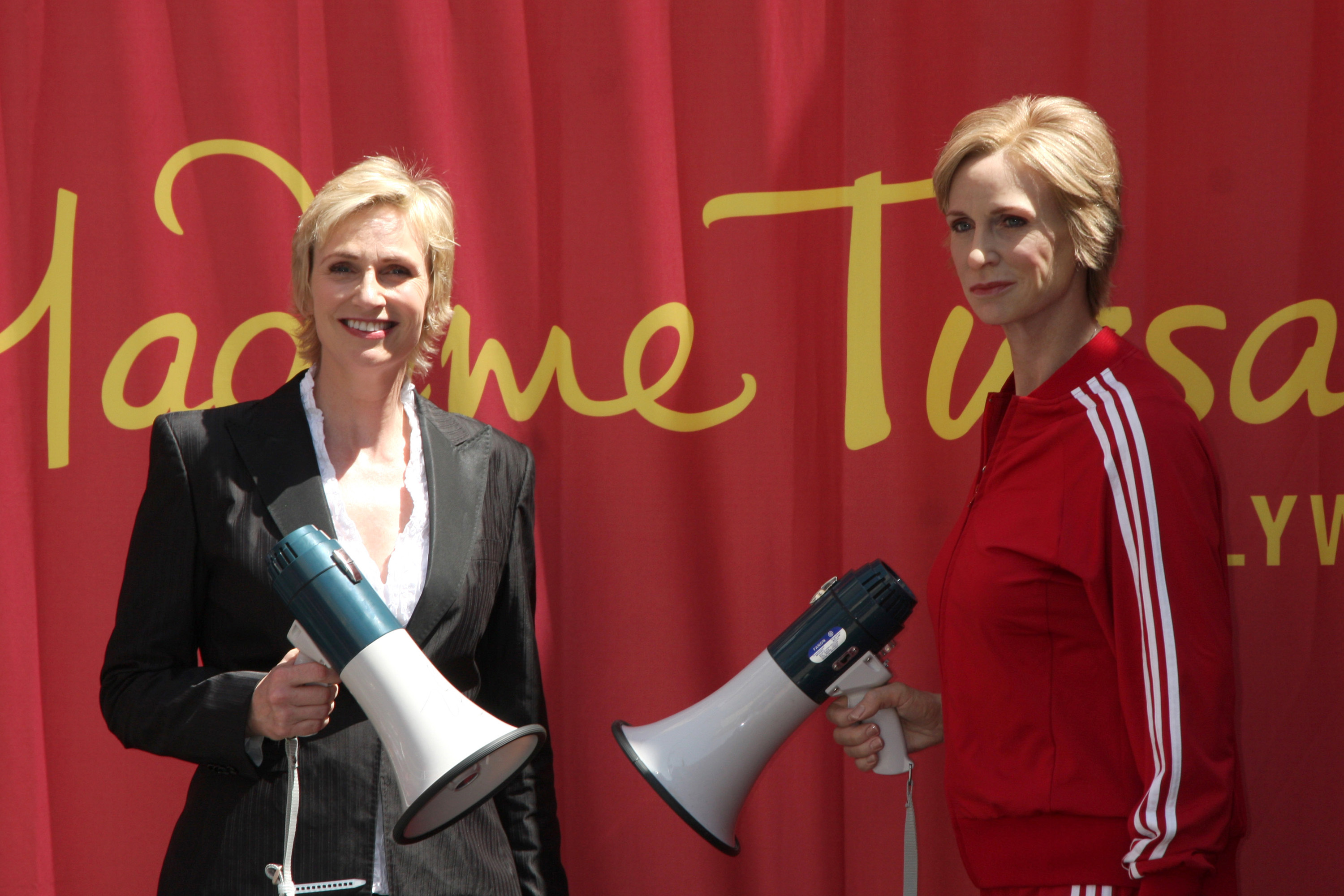 "Jane Lynch unveils her Madame Tussauds waxworks figure in Hollywood, portraying her as Sue Sylvester from the hit television series ""Glee,"" on Aug. 4, 2010. (WENN)"