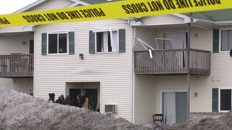 Authorities investigate a fatal explosion at an apartment building in Beaver Dam March 5, 2018. (Photo courtesy WMTV-TV)