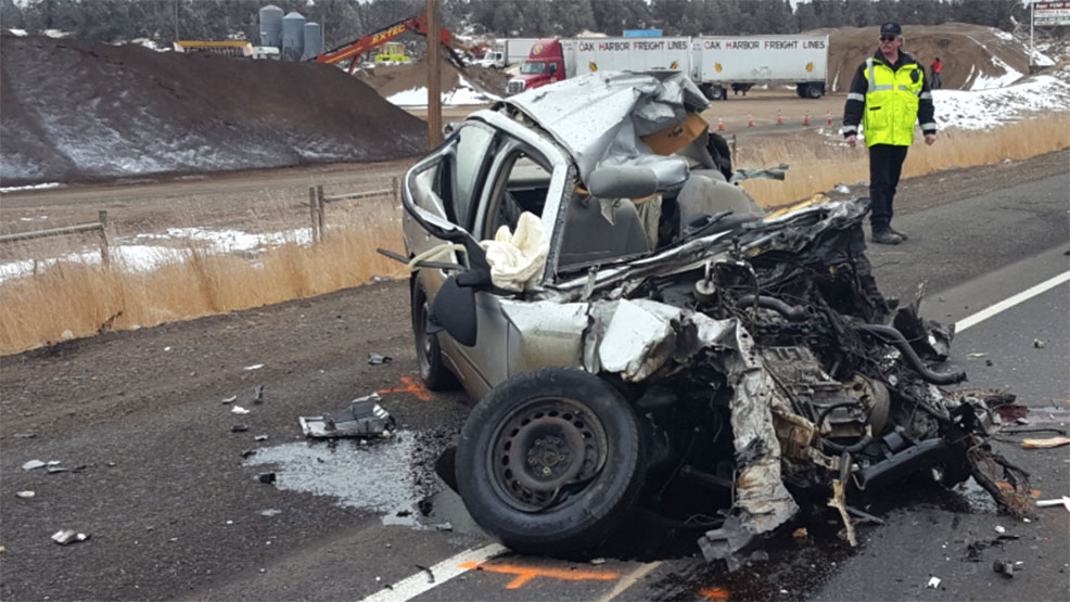 A 73-year-old Prineville woman died Wednesday morning when her Chevy Malibu crossed into oncoming traffic on Highway 97 and collided head-on with a commercial truck, Oregon State Police said. (OSP)