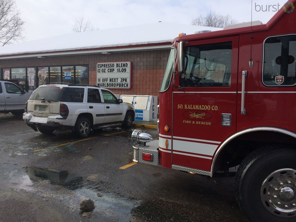 The SUV caught fire in front of a locker filled with propane tanks. (Credit: Ray Hole - WWMT)<p></p>