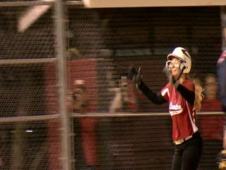 Laken Hugenberg gives &quot;the Michael Jordan Shrug&quot; after hitting her second home run against Gallatin{&amp;nbsp;}<p></p>