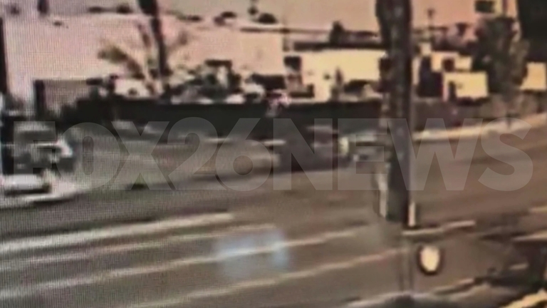It was a scary crash all caught on camera. A car turns in front of motorcyclist sending the man flying through the air. Miraculously, police say the motorcyclist only suffered minor injuries. (Courtesy: Yasir Amireh)