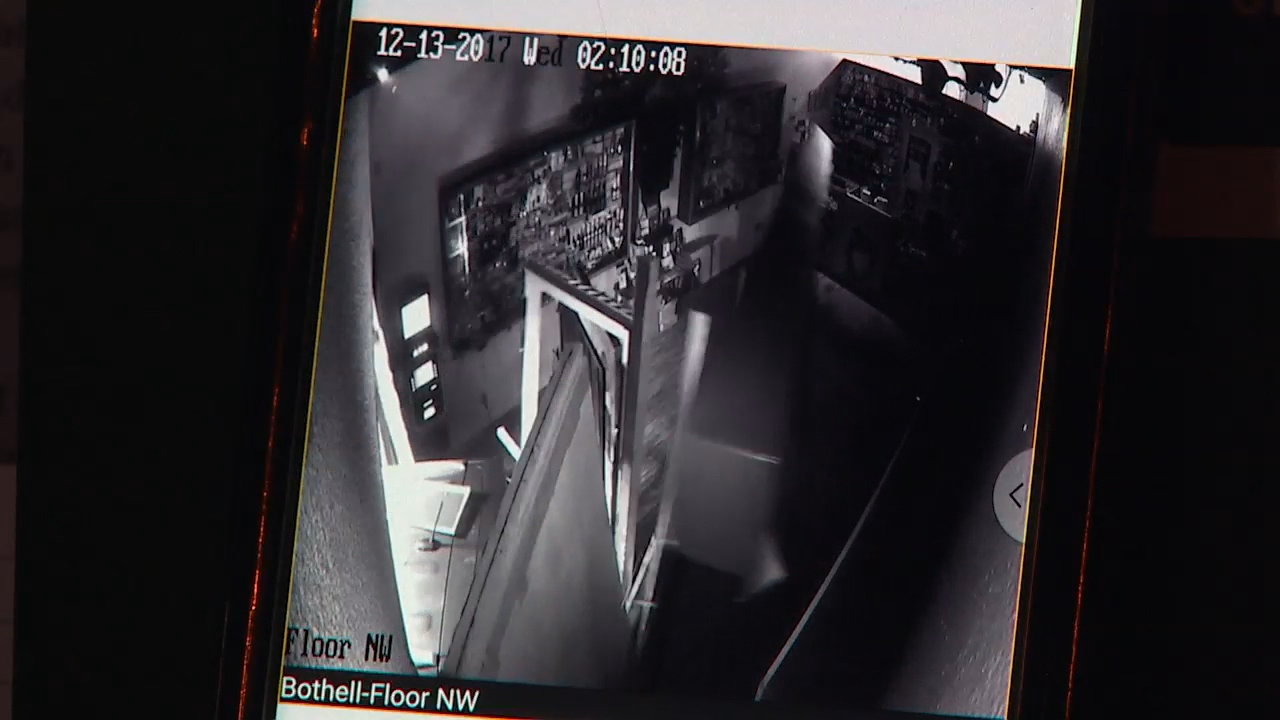 Screenshot from surveillance video shows the car crashing through into the store.<p></p>