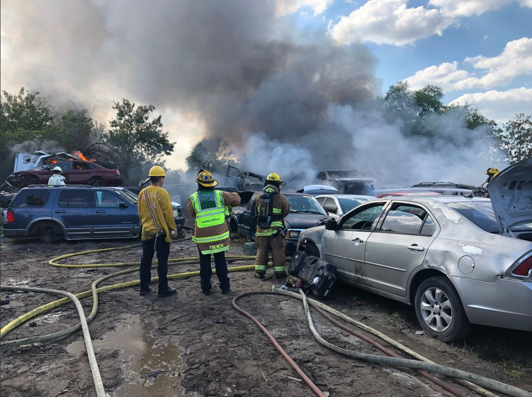 Fire burns 20 cars at salvage yard in Fort Pierce. (St. Lucie Fire District)