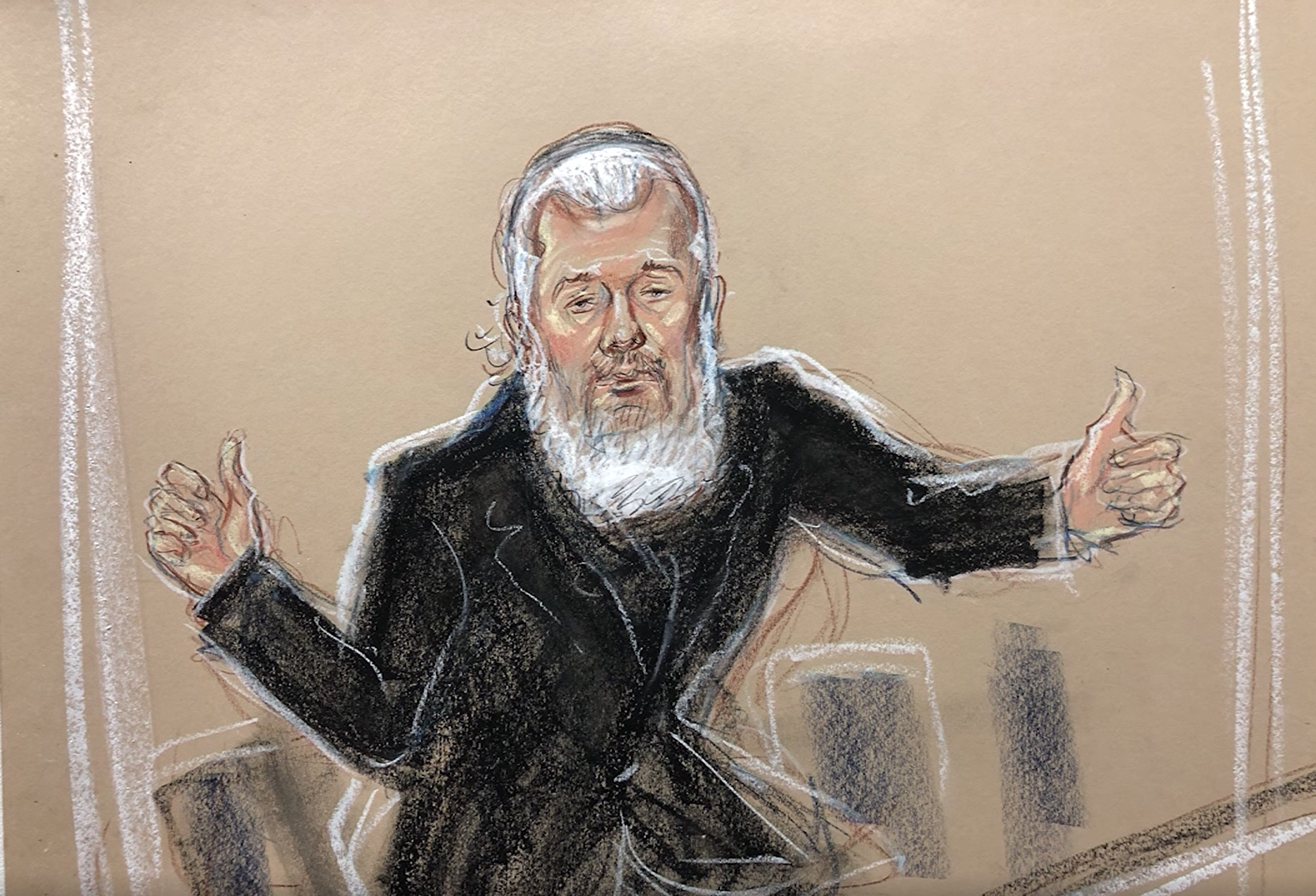A sketch of Julian Assange in court in London on Apr. 11, 2019 after his arrest at the Ecuadorian embassy. (Priscilla Coleman, MB Media/CNN Newsource)